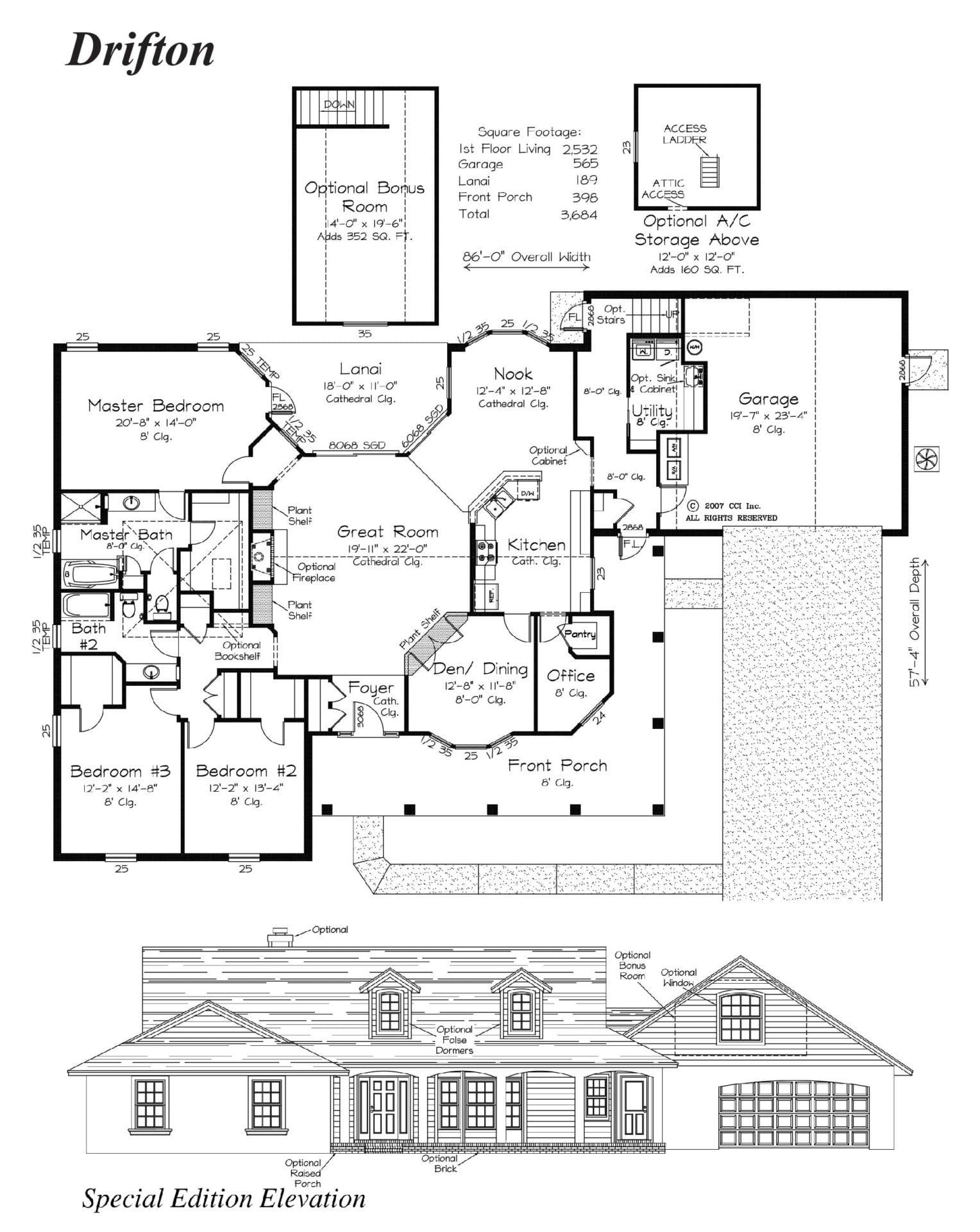 Drifton - Floor Plan - Curington Homes - Ocala Florida Contractor
