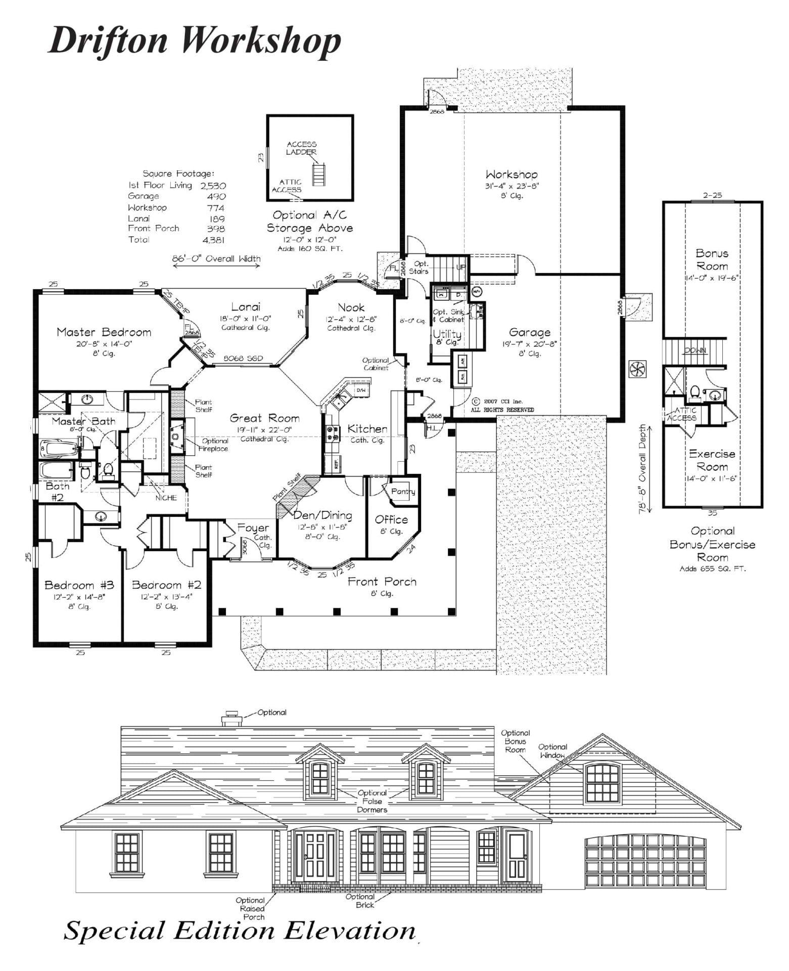 Drifton Workshop - Floor Plan - Curington Homes - Ocala Florida Contractor