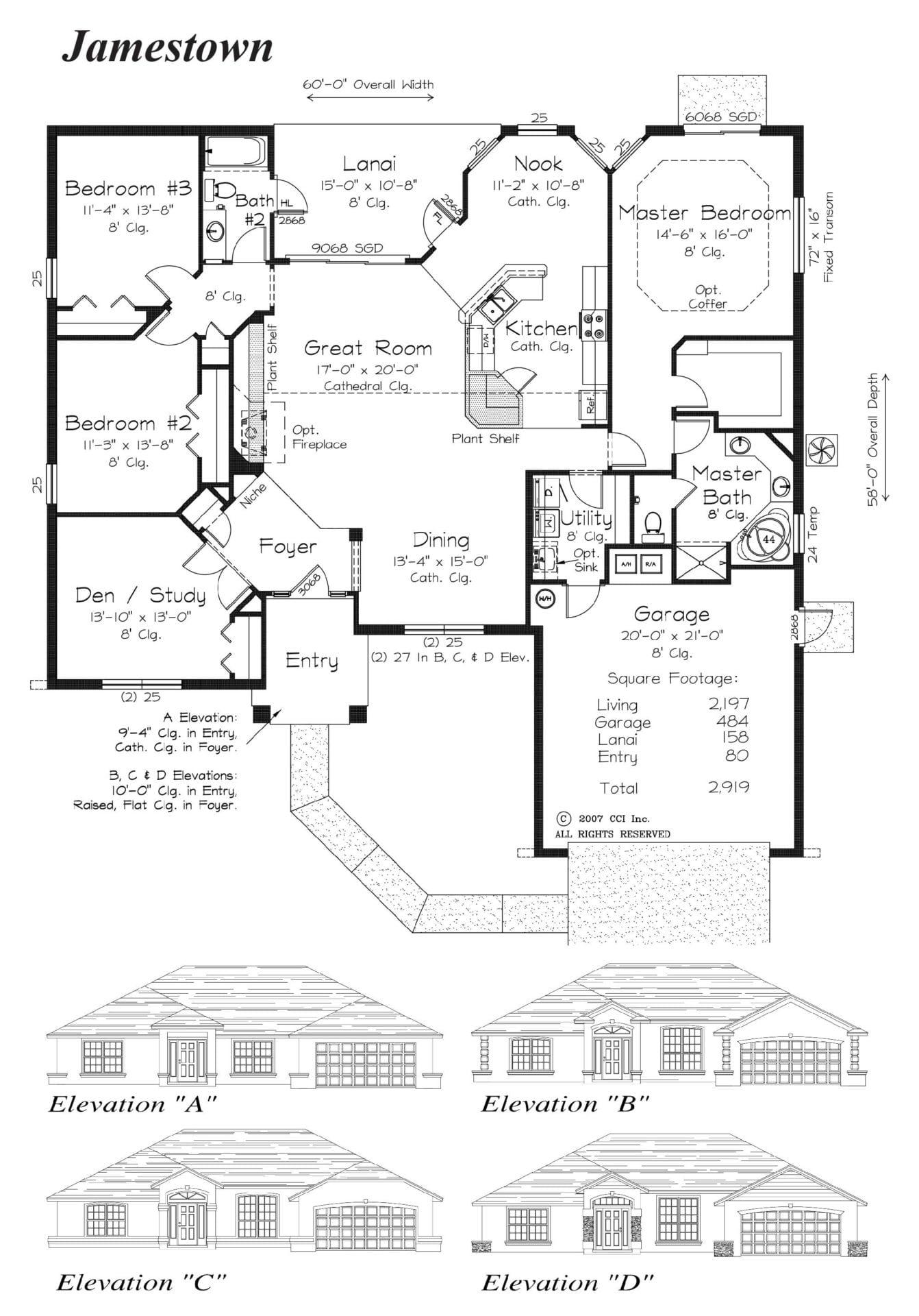 Jamestown - Floor Plan - Curington Homes - Ocala Florida Contractor