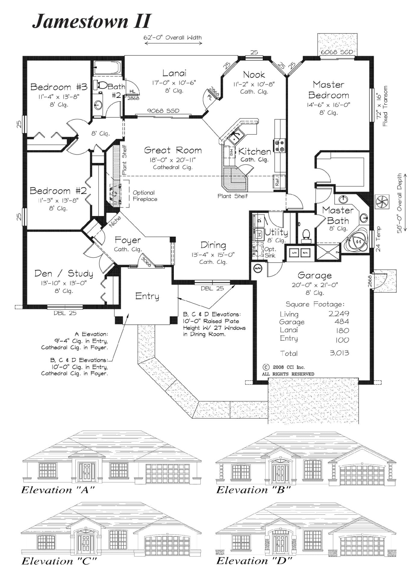 Jamestown II - Floor Plan - Curington Homes - Ocala Florida Contractor