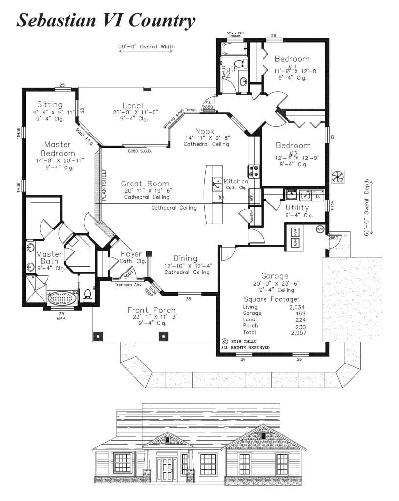 Sebastion VI Country - Floor Plan - Curington Homes - Ocala Florida Contractor