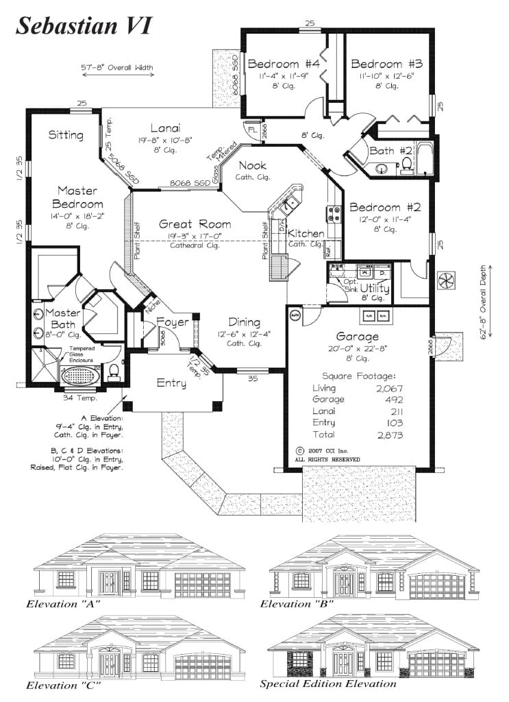 Sebastion VI - Floor Plan - Curington Homes - Ocala Florida Contractor