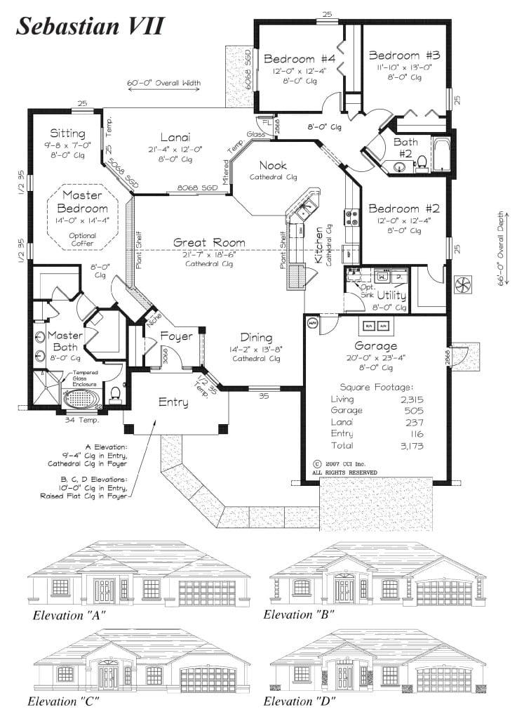 Sebastion VII - Floor Plan - Curington Homes - Ocala Florida Contractor