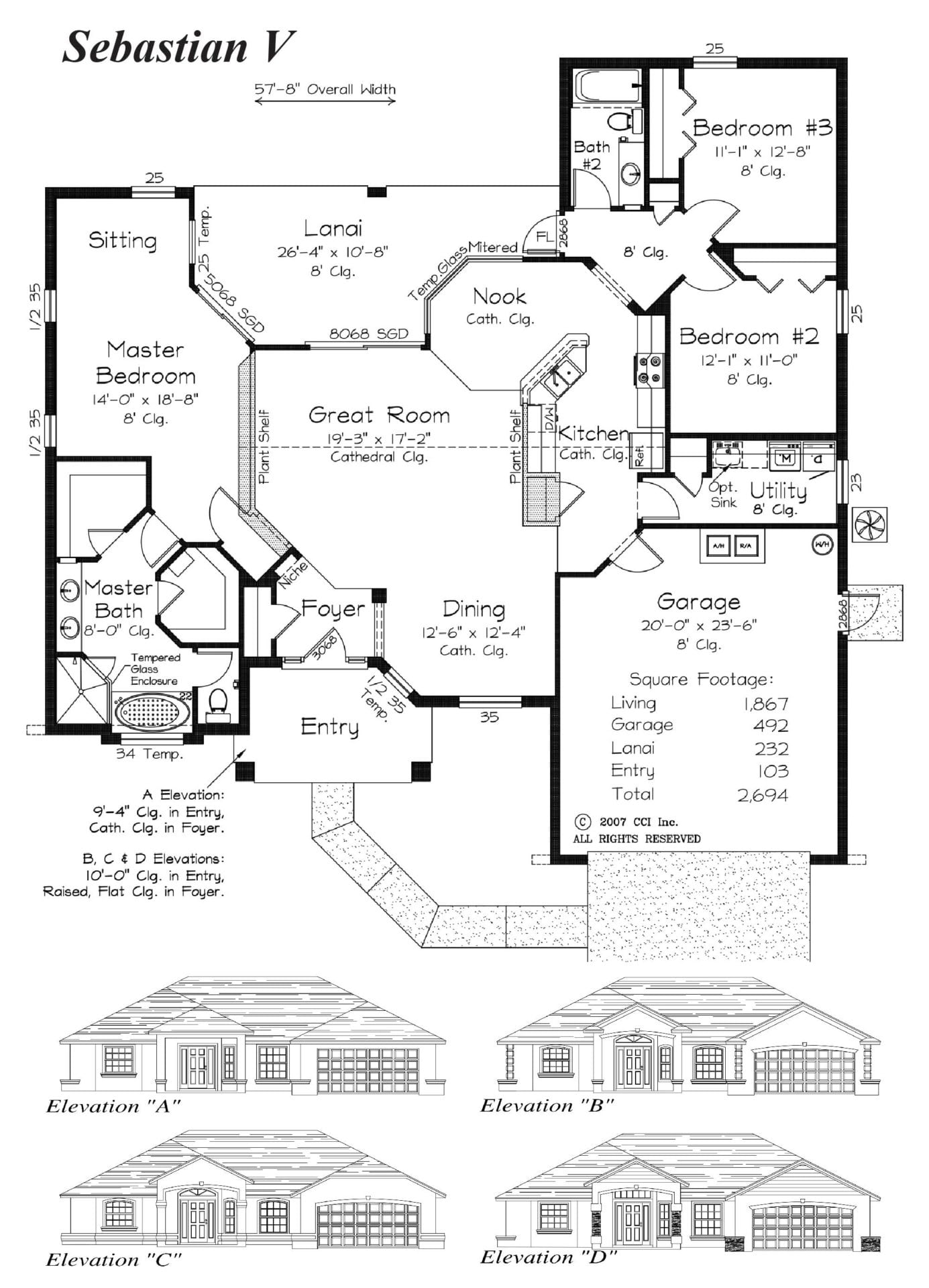 Sebastion V - Floor Plan - Curington Homes - Ocala Florida Contractor