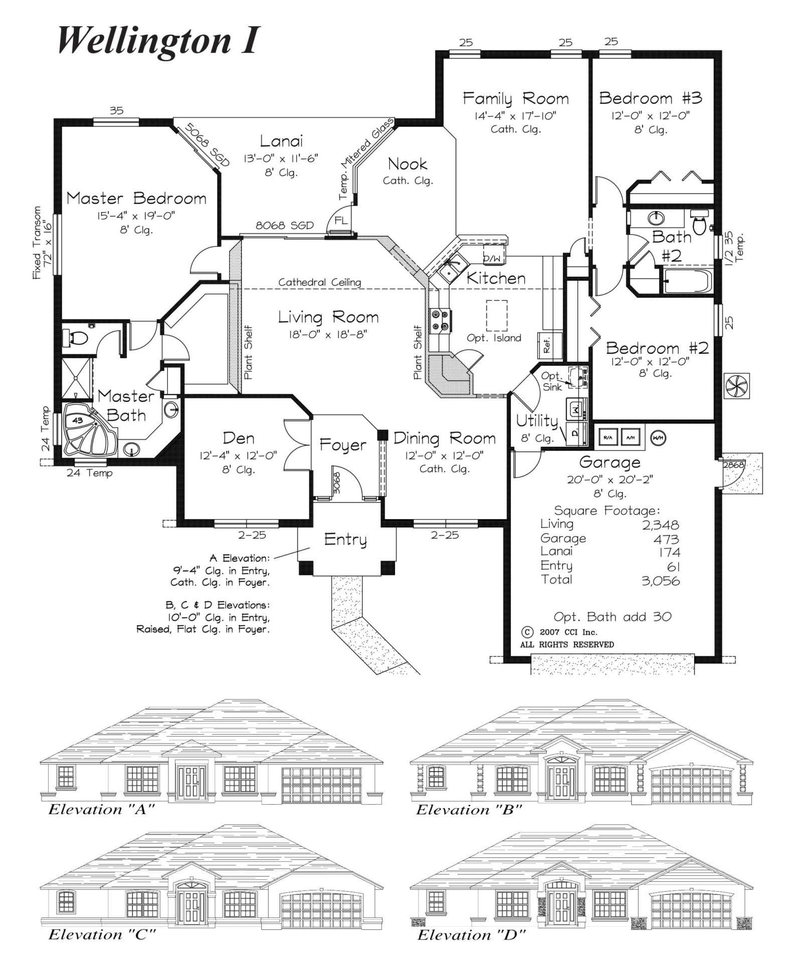Wellington I Floor Plan - Curington Homes - Ocala Florida Contractor