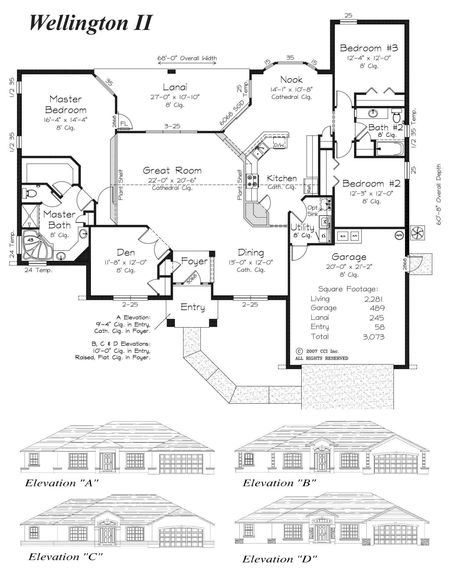 Wellington II Floor Plan - Curington Homes - Ocala Florida Contractor