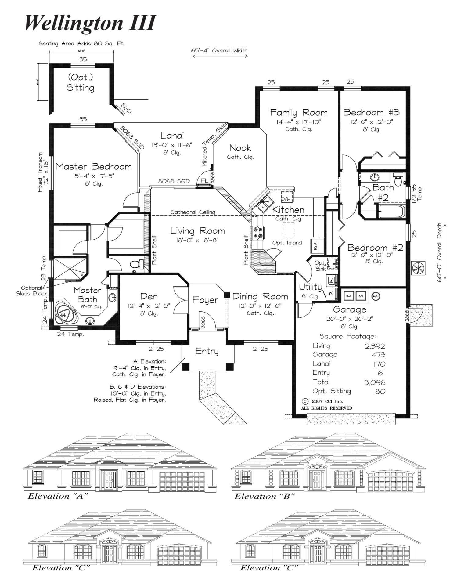 Wellington III Floor Plan - Curington Homes - Ocala Florida Contractor