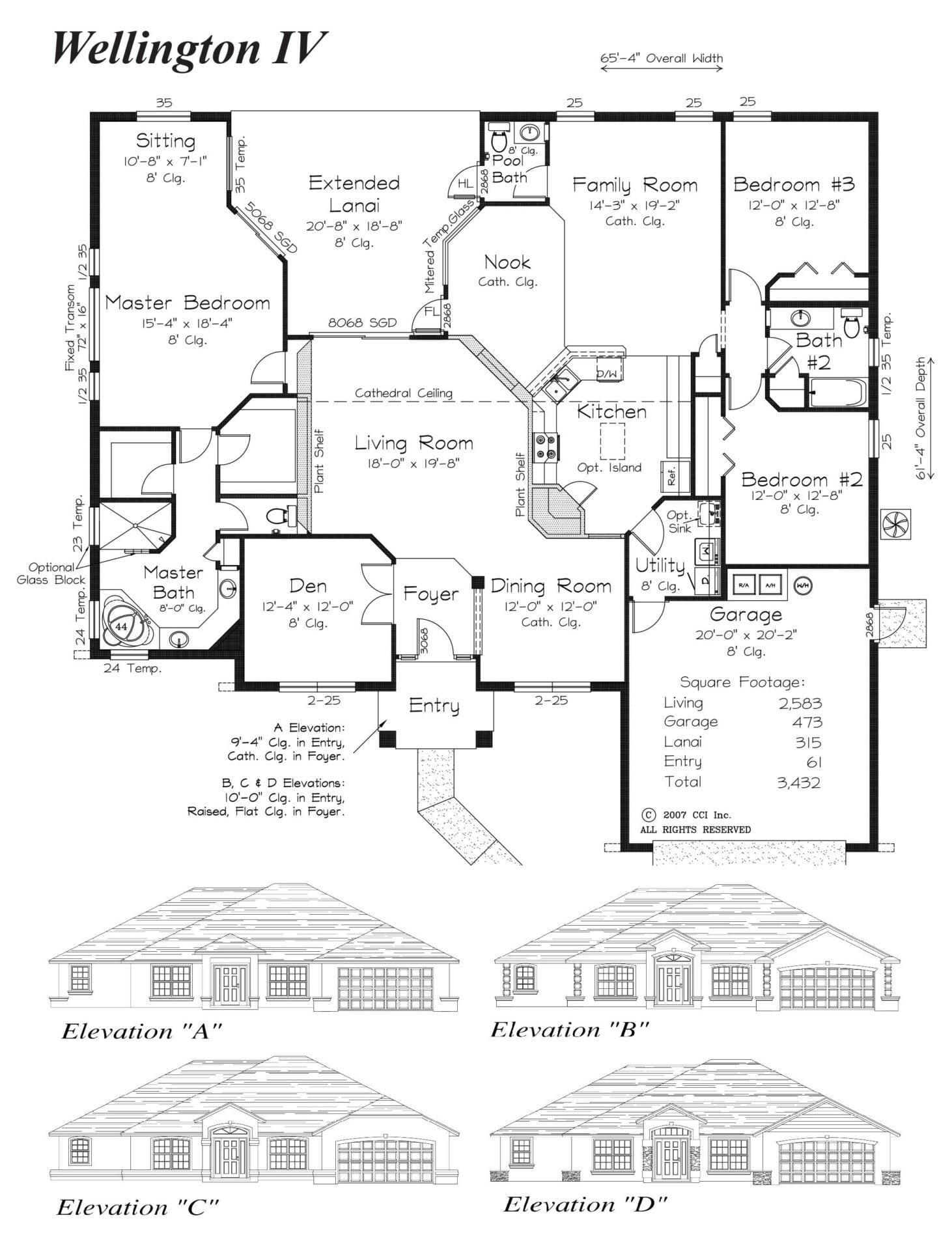 Wellington IV Floor Plan - Curington Homes - Ocala Florida Contractor